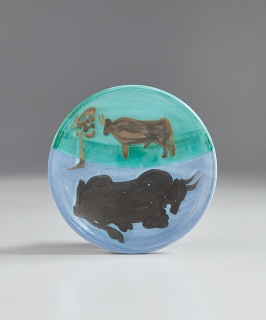 Pablo Picasso, 'Bulls (Toros)', 1952, Design/Decorative Art, White earthenware turned plate painted in white enamel, blue, green and black with oxidized paraffin., Phillips