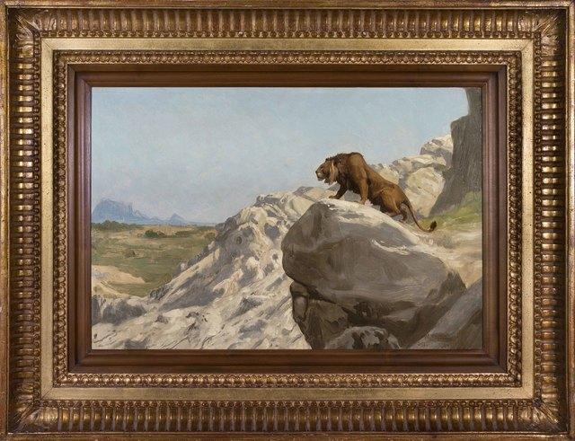 Jean-Léon Gérôme, 'Lion aux Aguets ', 1924-1904, Painting, Oil on canvas, Alon Zakaim Fine Art