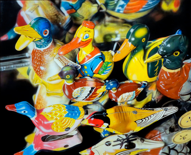 Cesar Santander, 'Eight Tin Birds', 1984, Painting, Acrylic on Masonite, Gallery Henoch