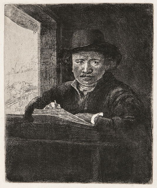 Rembrandt van Rijn, 'Self Portrait Drawing at a Window', 1648-a late impression, Print, Etching on thick off-white 18th century laid paper, Skinner