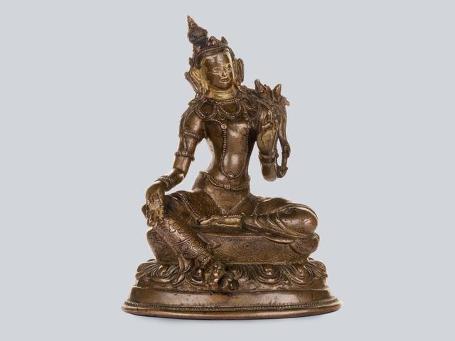 Bronze Sculpture, 'A Partly Gilt Copper Alloy Green Tara, Tibet 16th Century, 14.5 cm.', Sculpture, Arman Antiques Gallery