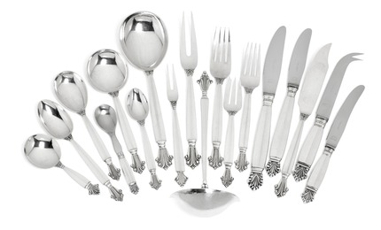 """""""Acanthus"""". Sterling silver cutlery."""