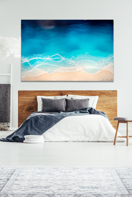 """Anna Sweet, '""""Point Break"""" mixed media painting of blue ocean waves from aerial view', 2019, Eisenhauer Gallery"""