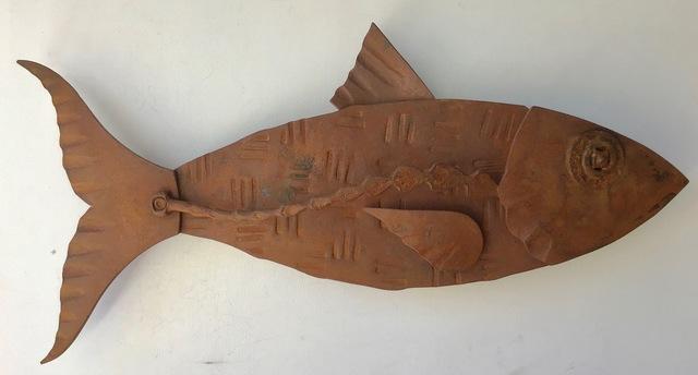 "Hugh Holborn, '""Albulidae #5"" forged salvage steel fish wall sculpture', 2019, Eisenhauer Gallery"