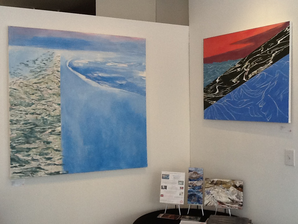 Elaine Galen's Ice Melt (42x48) and Glacial Meltdown (30x36) on exhibit at Elisa Contemporary Art in Icebergs & Glaciers (2013)