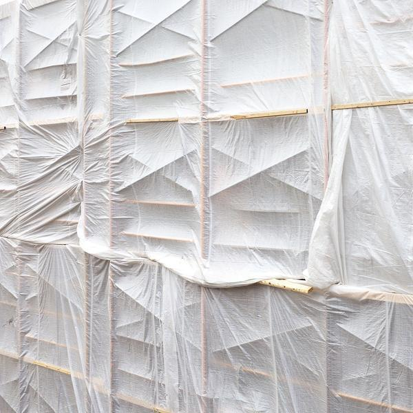 Chris Shepherd, 'White Tarped Scaffolding', 2018, Photography, Chromogenic Print Mounted to Archival Substrate, Framed in White with Glass, Bau-Xi Gallery