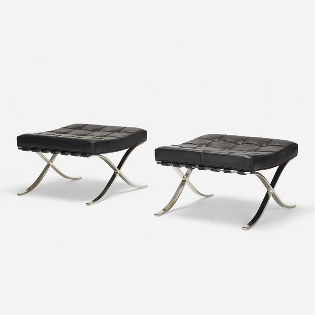 Ludwig Mies van der Rohe, 'Barcelona ottomans, pair', 1928, Wright
