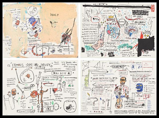 Jean-Michel Basquiat, 'Wolf Sausage, King Brand, Dog Leg Study, and Undiscovered Genius', 1982-2019, Vernissage Art Advisory