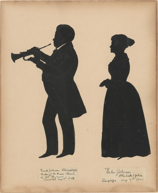 Auguste Edouart, 'Frank Johnson, Leader of the Brass Band of the 128th Regiment in Saratoga, with his wife, Helen', 1842–1844, The Metropolitan Museum of Art