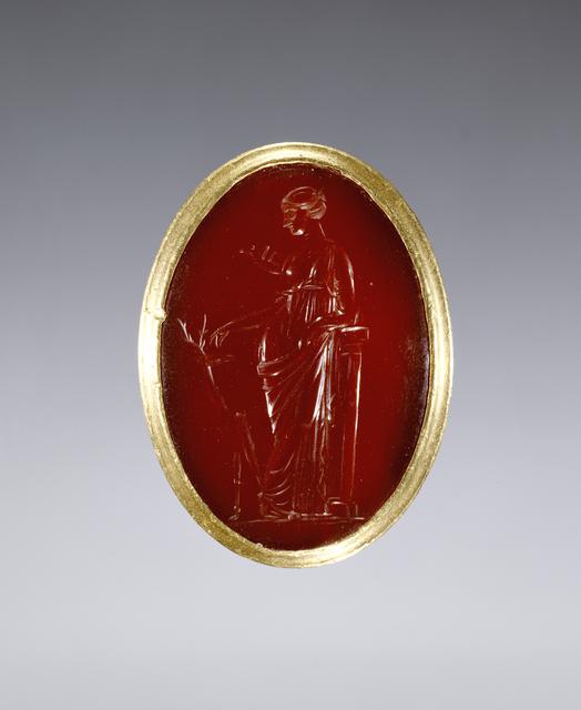 'Ring inset with intaglio representing Artemis', 220 -100 BCE, J. Paul Getty Museum
