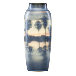 Scenic Vellum vase with lake scene, Cincinnati, OH