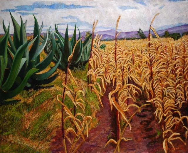 Pedro Diego Alvarado-Rivera, 'Milpas Secas con Magueyes ', 2010, Painting, Oil on linen, Ruiz-Healy Art