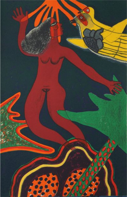 Guillaume Corneille, ' Femme volante', 1985, Le Coin des Arts