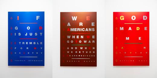 Suite of 3 Works: Eye Chart: Dennis Chavez; Eye Chart: Thomas Jefferson; Eye Chart: Sitting Bull
