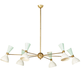 Six-light chandelier with pierced polychrome hourglass shades