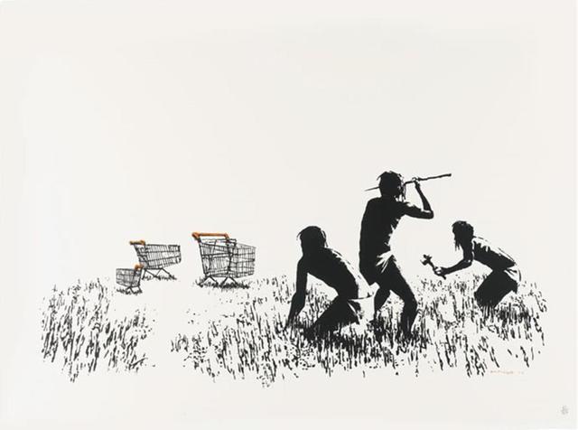 Banksy, 'Trolleys - Black and White (Signed)', 2019, Bel-Air Fine Art