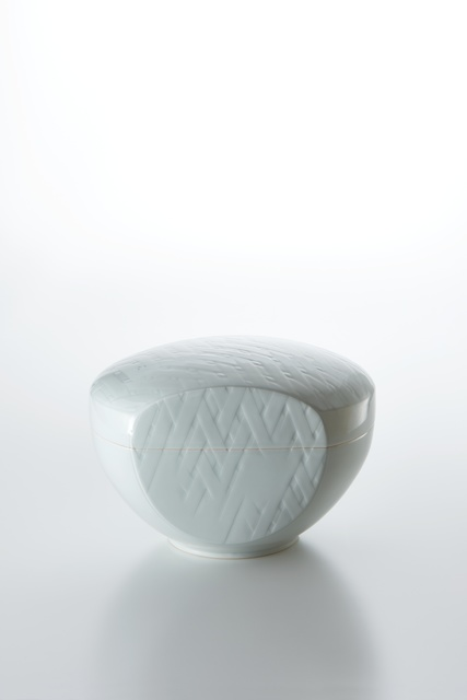 , 'Sculpted Blue-White Porcelain Lidded Box with Woven Bamboo Pattern,' 2015, Onishi Gallery