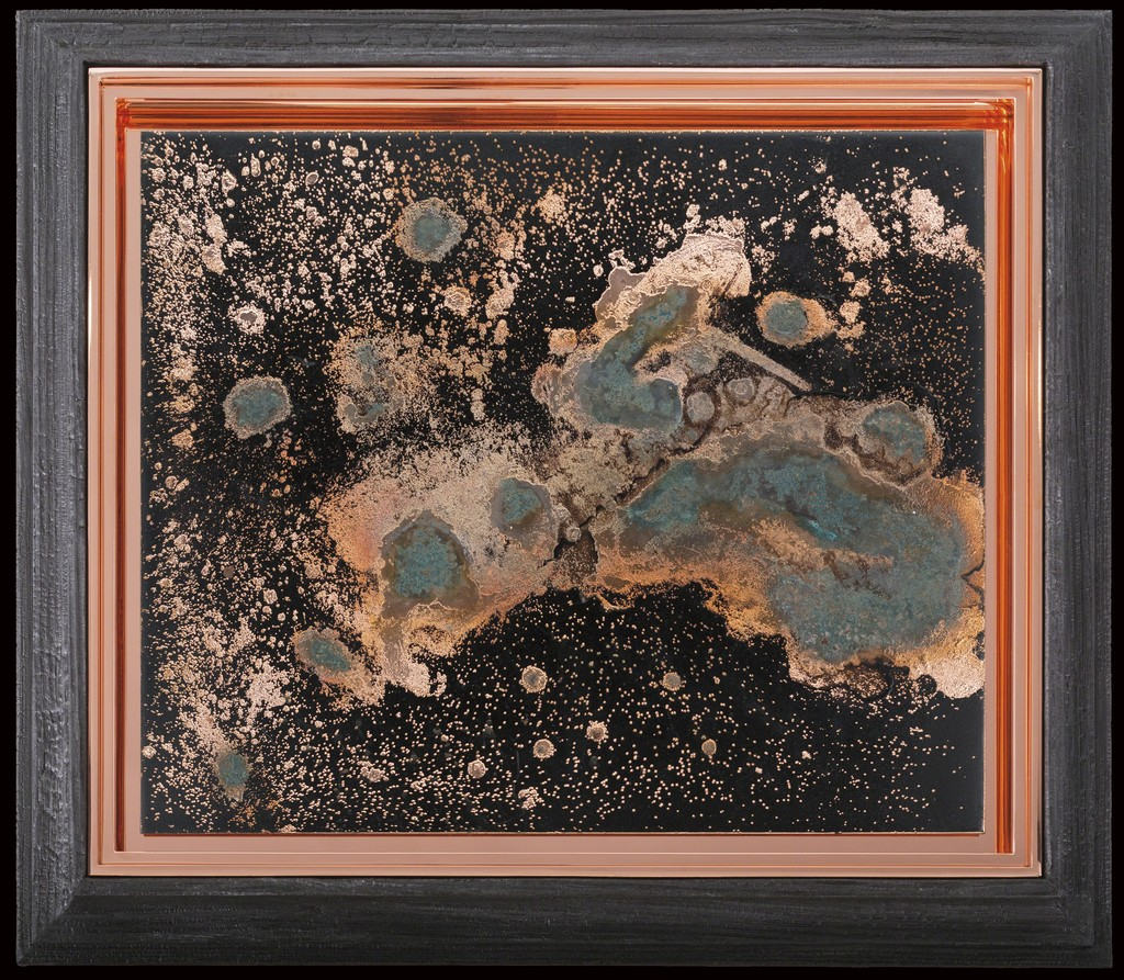 Matthew Barney, Redoubt: Base Plate Conductor, 2018. One electroplated copper plate with vinegar patina and seven engravings, on asphaltum ground in copper and charred pine frames. © Matthew Barney, courtesy Gladstone Gallery, New York and Brussels