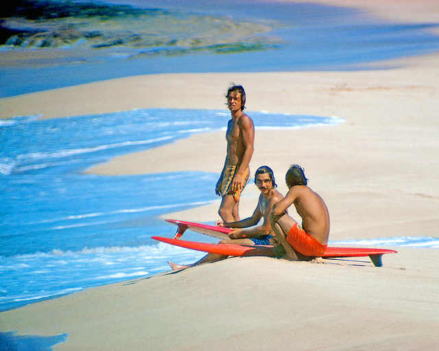 Jeff Divine, 'Herbie Fletcher, Gerry Lopez, and Barry Kanaiaupuni, Sunset Beach, Hawaii, 1971', 2019, Gagosian