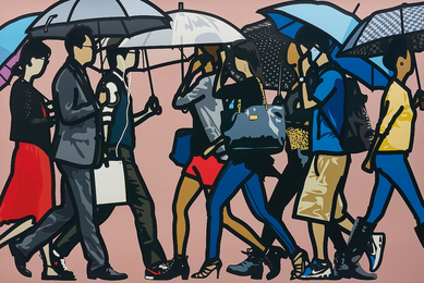Julian Opie, 'Walking in the Rain, Seoul,' 2015, Phillips: Evening and Day Editions