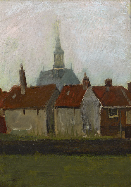 Vincent van Gogh, 'Nieuwe Kerk en Oude Huizen in Den Haag (The New Church and Old Houses in The Hague)', ca. 1883, Painting, Oil on canvas on panel,  M.S. Rau
