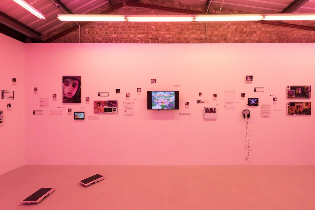 Installation view, Molly Soda 'Comfort Zone' at Annka Kultys Gallery, London, 2016 Photo: Annka Kultys Gallery (Damian Griffiths)