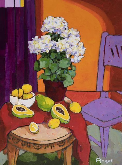 , 'Hydrangea with Papaya and Lemons Over Orange,' 2018, Ventana Fine Art