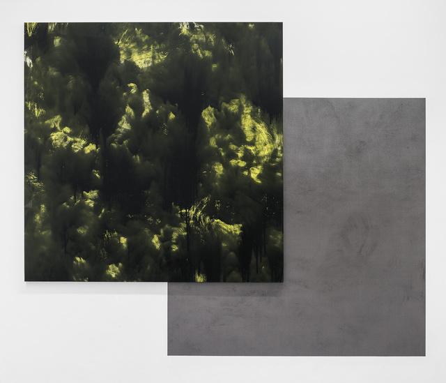 """, '""""Écran/Collage #3 (noir sur jaune soufre-brun noir)"""",' 2017, VALENTIN"""