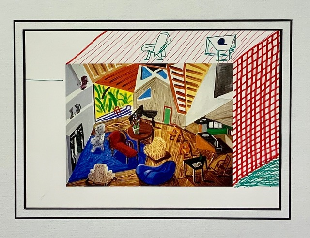 David Hockney, 'Pembroke Studio Interior with hand added Table, Chair and Cross-Hatching.', 1988, Mr & Mrs Clark's