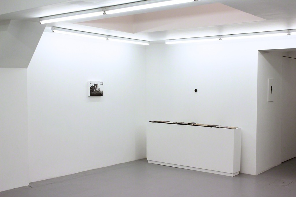 "Installation view at Harlan Levey Projects ""Kirtland"", 2014, graphite, resin, funerary ash, on wood panel, 28 x 35.5 cm, ""I want your Body"", 2013, Bronze, 5.1 cm diameter and ""Crackle & Drag Zine Set"", 2013, 150 zines and plexi box, 19.5 x 16.2 x 15.2 cm."