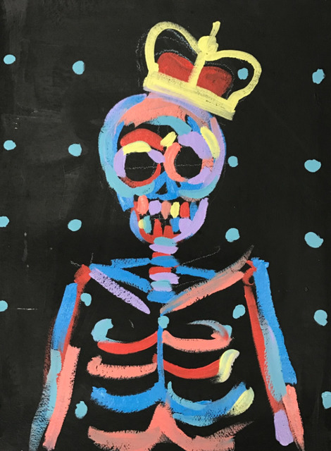 , 'King Skull With Blue Dots,' 2016, Maddox Gallery