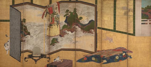 ", 'Whose Sleeves? (tagasode) Painting with ""Waves of Matsushima"" Screen,' 18th century, Smithsonian Freer and Sackler Galleries"