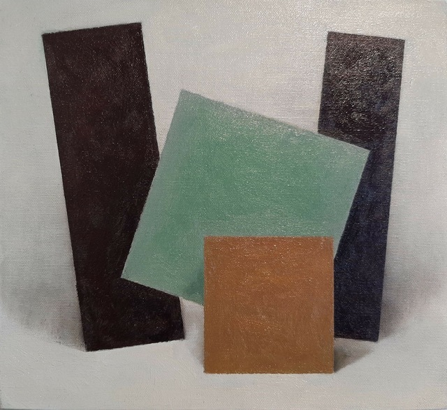 Enn Erisalu, 'Floating Forms 4 (Black Green Brown Black)', ca. 1986, Painting, Acrylic on canvas board, Gallery Jones