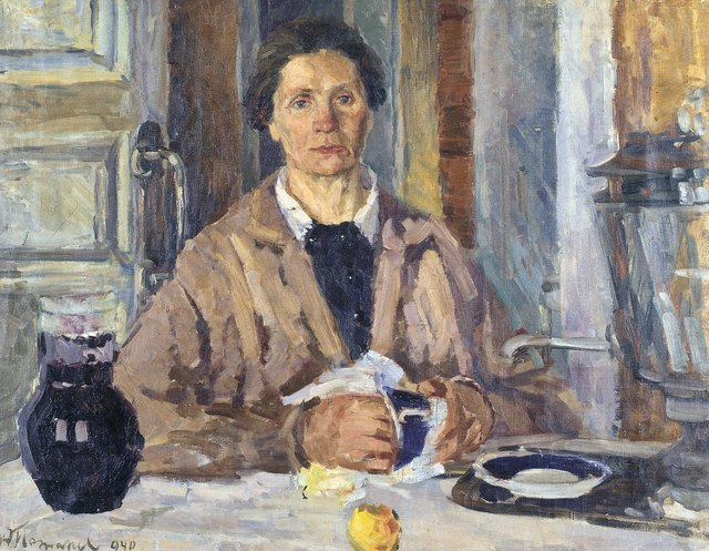 Aleksey Dmitrievich Potapov, 'Woman at the table', 1940, Surikov Foundation