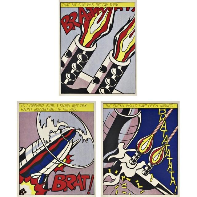 Roy Lichtenstein, 'As I Opened Fire Triptych (Corlett App.5)', 1964, Alpha 137 Gallery Auction