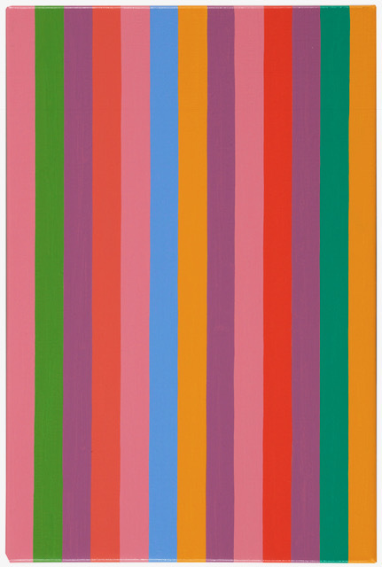 Bridget Riley - Rose Rose 12, 2011, oil on linen, 14 3/4 x 9 3/4 in; 37.3 x 25 cm