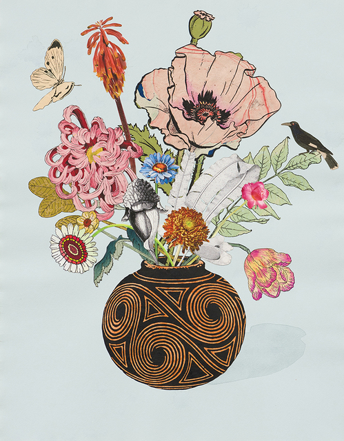 , 'Spiral Vase with Oriental Poppy and Pitcher Plant,' 2014, Lyndsey Ingram