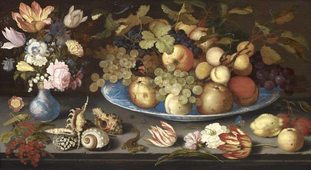 , 'Fruit still life in a Wan Li bowl with a bouquet of tulips and shells,' c 1600, Galerie Florence de Voldère