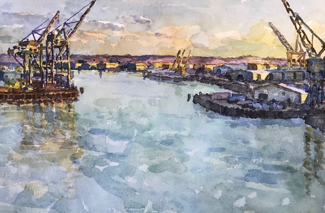 Derek Buckner, 'Shipping Cranes, Evening Light ', 2019, George Billis Gallery
