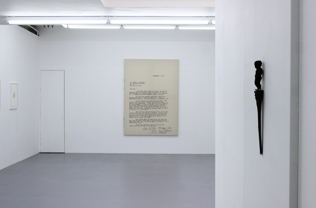 "Installation view at Harlan Levey Projects - ""September 3rd, 1991"", 2015, graphite, resin, funerary ash, on muslin, 214 x 152 cm"