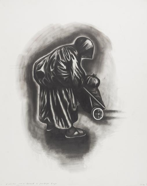 Sue Coe, 'Homeless Woman Dressed in Garbage Bags', 1992, Galerie St. Etienne