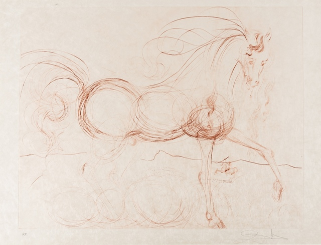 Salvador Dalí, 'L'Etalon Blanc (Hommage au cheval) (Field 74-9; M & L 639b)', 1973-1974, Print, The scarce etching printed in sepia, Forum Auctions
