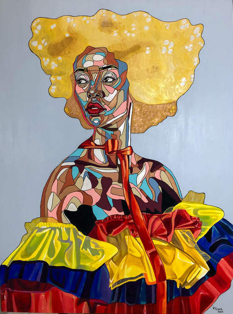 REWA, 'Adiba (Princess of the court)', 2020, Painting, Acrylic and ink on canvas, Out of Africa Gallery
