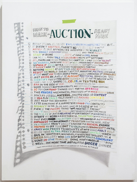 , 'How To Make An Auction Ready-Made,' 2014, Postmasters Gallery