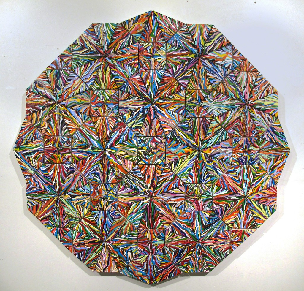 "Untitled, 2014, Acrylic on 150 canvases, 50"" x 50"", Artist: Rick Siggins"