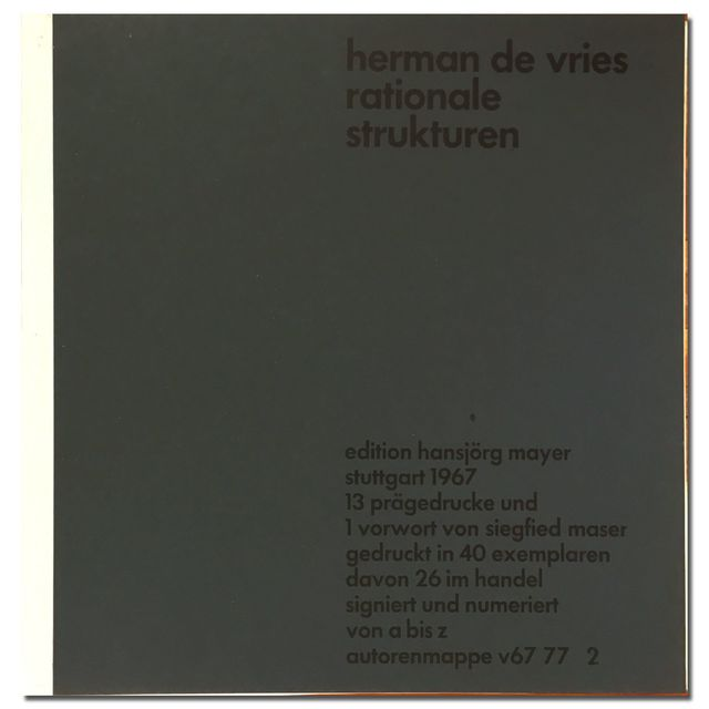 herman de vries, 'Rationale strukturen ', 1967, Zucker Art Books