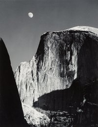 Moon and Half Dome, Yosemite National Park, California