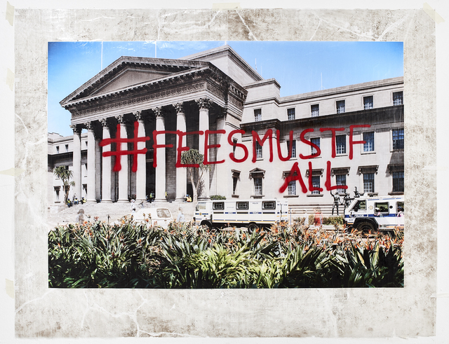 Mikhael Subotzky, 'Sticky-tape Transfer 19 - #feesmustfall (or Protecting the Architecture of Reason)', 2016, Goodman Gallery