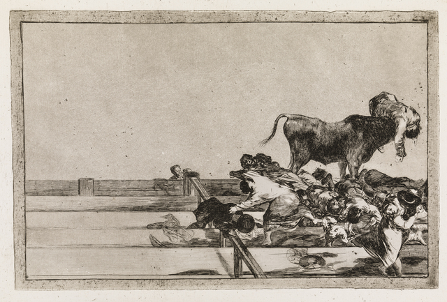 , 'Dreadful events in the front rows of the ring at Madrid and the death of the mayor of Torrejon (La Tauromaquia, 21),' 1815-1816, Statens Museum for Kunst