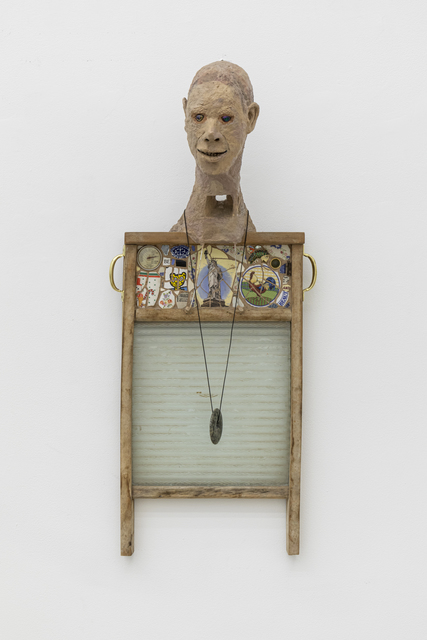 Timothy Washington, 'Liberty Washboard Series #6', 2017, Sculpture, Mixed media including wooden washboard frame, glass, painted cotton, ceramic fragments, metal handles, dials, jewelry, stone, and string, Salon 94